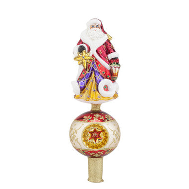 Radko FINIAL Guiding the Way Santa Tree Topper New
