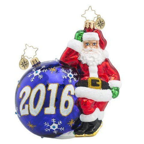 Radko 2016 Dated HAVING A BALL Santa Christmas Ornament NEW