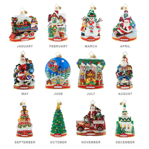 Christopher Radko  A CHRISTMAS TO REMEMBER Ornaments SET OF 12