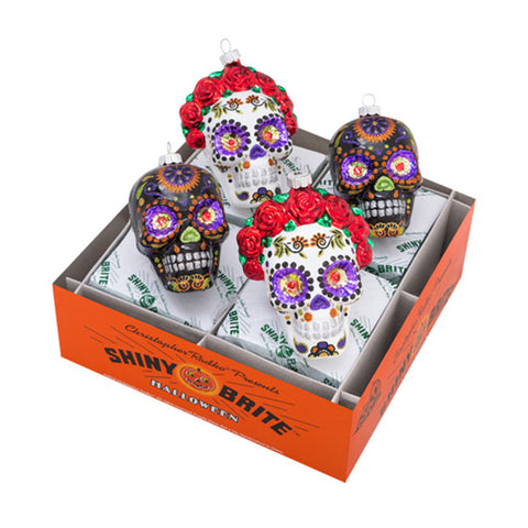Radko Halloween SKULLS Shiny Brite ornaments Day of the Dead SET of 4