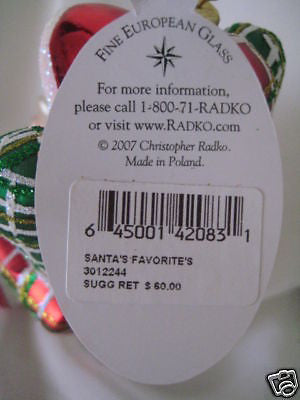 Christopher Radko A SANTA FAVORITES with Cat ornament