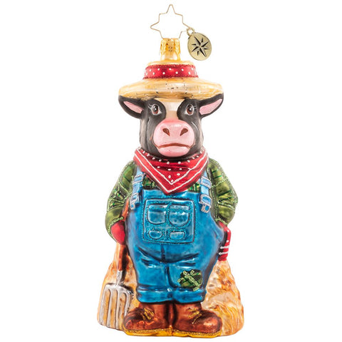 Christopher Radko Working 'Til The Cows Come Home Farmer Ornament