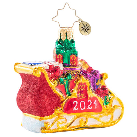 Christopher Radko 2021 Dated Precious Cargo Sleigh Gem Ornament