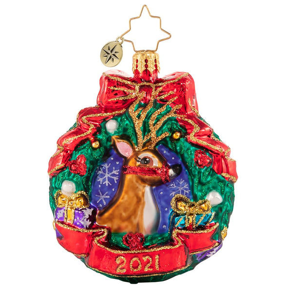Christopher Radko 2021 Dated Oh Deer, What a Year! Gem Ornament