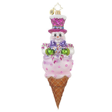 Radko FROSTY TREAT Snowman Ice Cream Cone ornament NEW