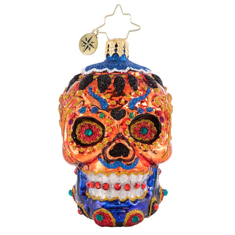 Christopher Radko Colorful Calavera Gem Skull Ornament