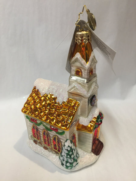 Christopher Radko Country Side Celebrations Church Gold Roof ornament