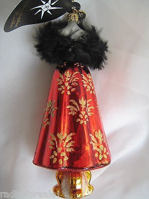 Christopher Radko FESTIVE FROCK Red Dress Fashionista ornament