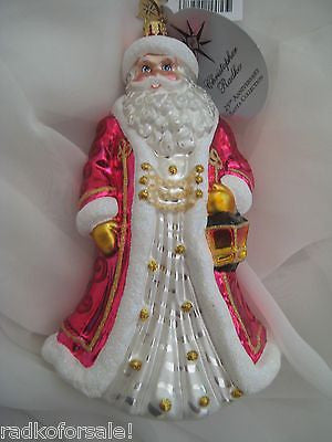 Christopher Radko ROYALLY ROBED Pink Santa Christmas ornament