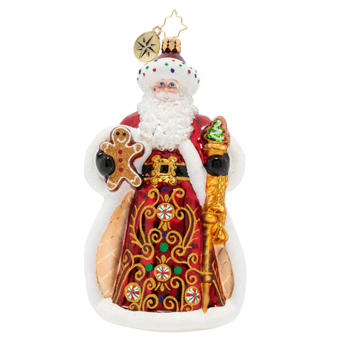 Christopher Radko King Of Sweets Santa Ornament
