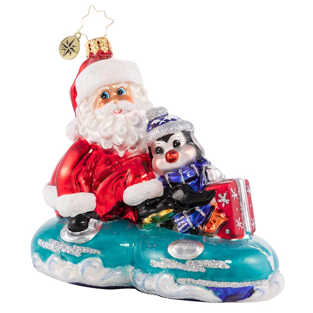 Christopher Radko A Tubular Ride For Two! Santa Tubing Ornament