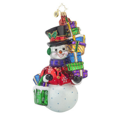 Radko SHOP AWAY Snowman Shopper ornament NEW