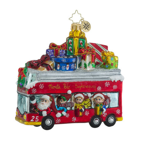 Christopher Radko Santa Line Tours Double Decker Bus Ornament
