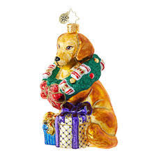 Christopher Radko THIS RETRIEVER GETS IT Dog Golden Ornament