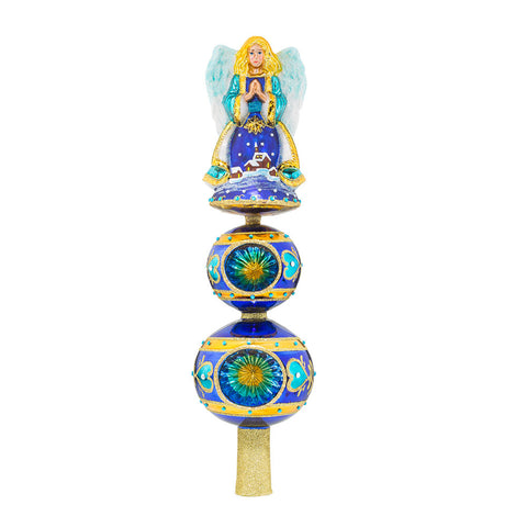 Christopher Radko FINIAL Twilight Angel Tree Topper Blue NEW