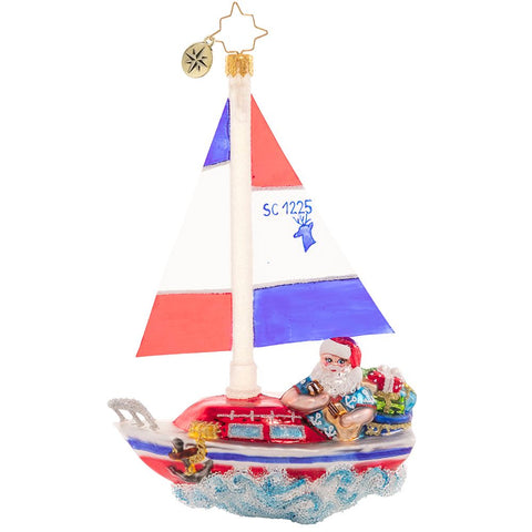 Christopher Radko Sailing South Santa Sail Boat Ornament