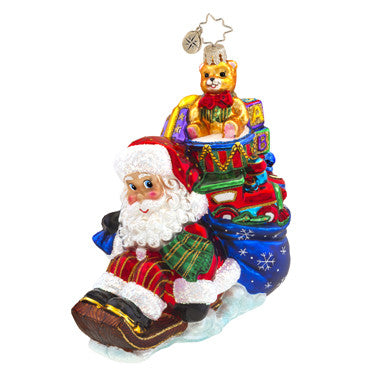 Radko WEE JOLLY SLEIGH RIDE Santa Sled ornament NEW