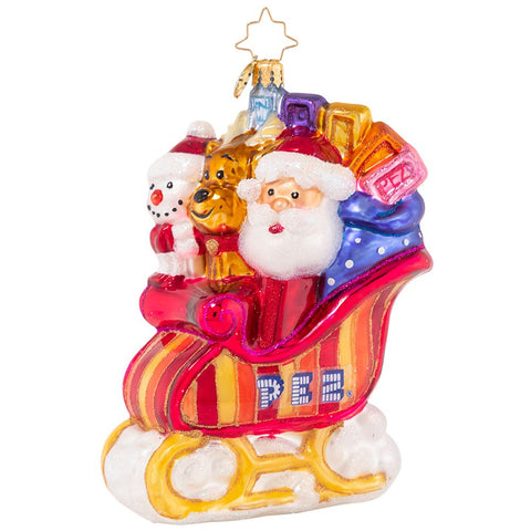 Christopher Radko PEZ Sweet Sleigh Ride Candy Ornament