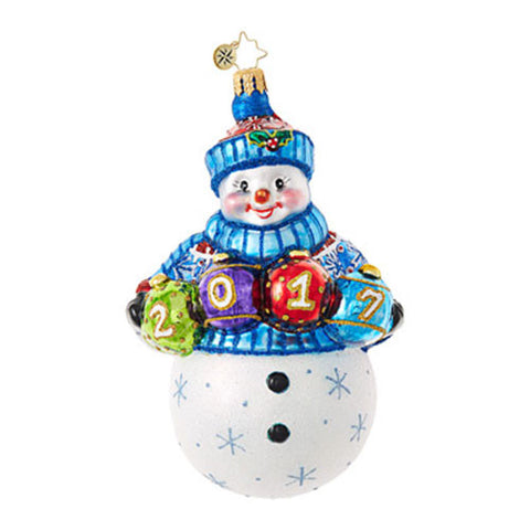 Radko 2017 Dated A FUN FROSTY YEAR Snowman Ornament New