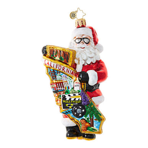 Radko A HOLLYWOOD CHRISTMAS Santa California Ornament New