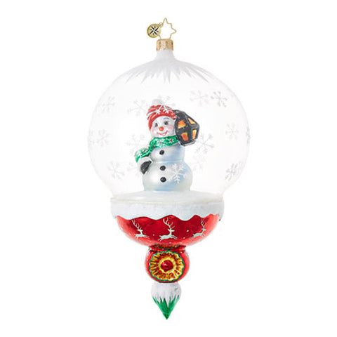 Radko A Lantern Lights the Way Snowman Dome ornament NEW
