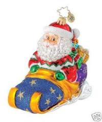 Christopher Radko ALPINE SLEIGH AWAY Toboggan ornament