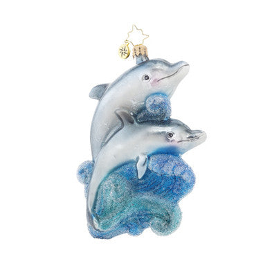 Radko A PLAYFUL PAIR Dolphins ornament New