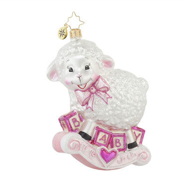 Radko BAA BAA BABY Lamb Girl Pink Christmas ornament