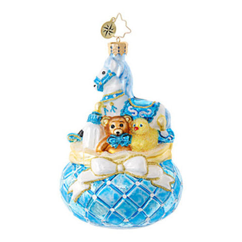 Christopher Radko Baby Baby's Bounty Blue Pony Ornament