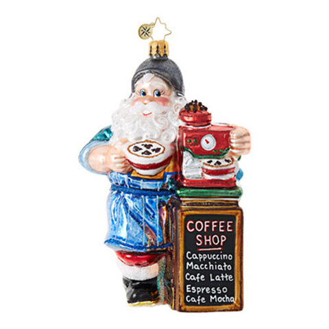 Radko BARISTA NICK SANTA Coffee Christmas Ornament New
