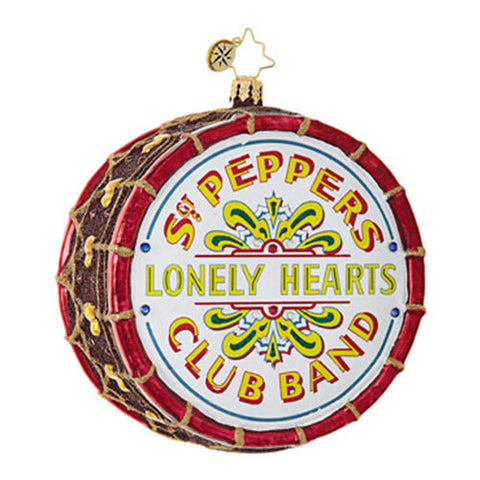 Christopher Radko The Beatles Sgt. Pepper's Drum Lonely Heart Ornament