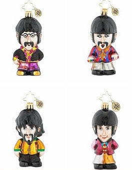 Christopher Radko Beatles Set of 4 Christmas Ornaments Group Band! Gem Gems