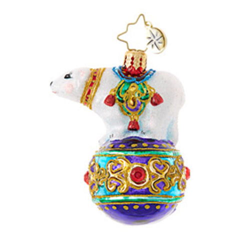 Christopher Radko BEJEWELED BALANCER Little Gem Polar Bear Circus ornament