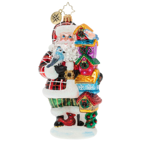 Christopher Radko Songbird Santa Birdhouse Bird Ornament