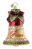 "Radko BLISSFUL BELL PEACE Love 5"" ornament New Burgandy Gold"