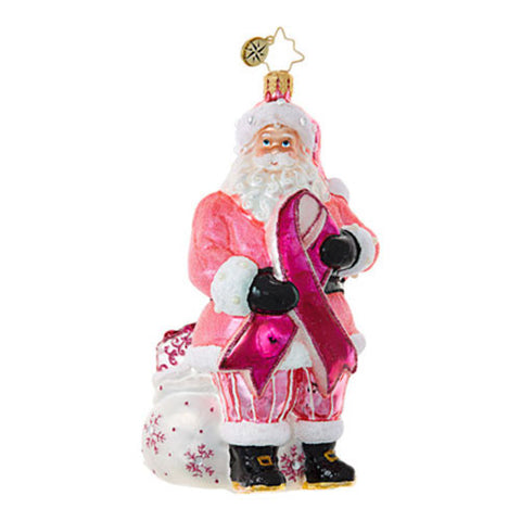Radko BREAST CANCER SANTA Pink Ribbon Ornament NEW 2017