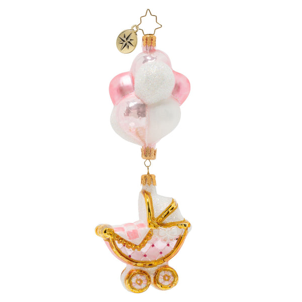 Christopher Radko Baby Girl Buggy & Balloons Christmas Ornament