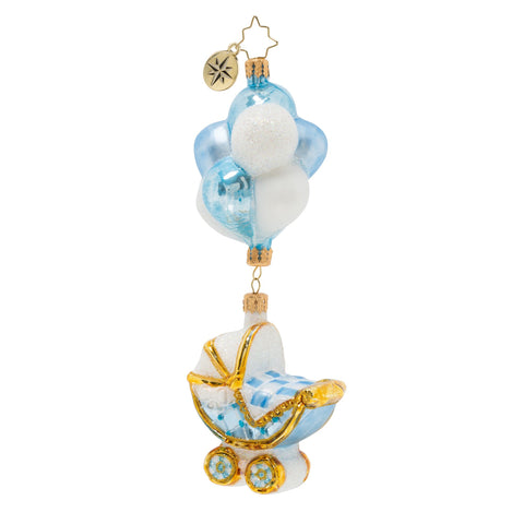 Christopher Radko Baby Boy Buggy & Balloons Christmas Ornament