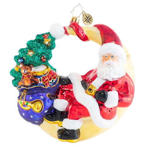 Christopher Radko Over The Moon For Christmas Santa Ornament