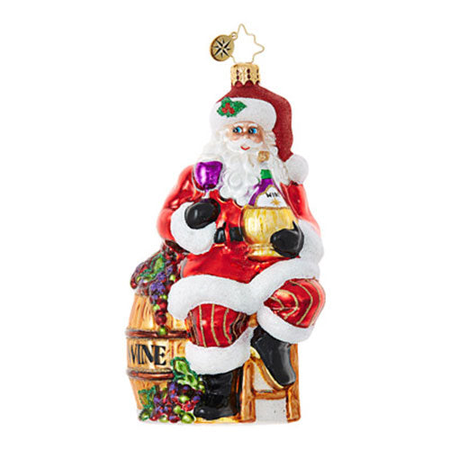 Christopher Radko Cabernet Christmas Red Wine Santa Ornament