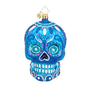 Radko LA CALAVERA BLUE Day of the Dead Skull ornament NEW