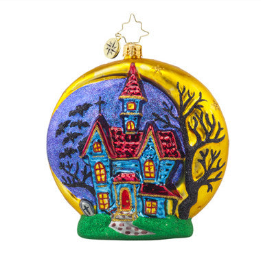 Radko HALLOWEEN CHATEAU Haunted House Moon Ornament New