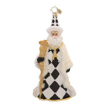 Radko CHECKMATE SANTA Black & White checked Chess Ornament NEW