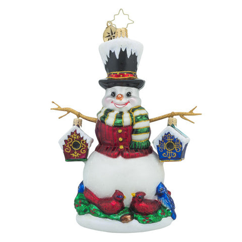 Radko Chirp-n-Chilly Snowman Birdhouse Ornament