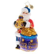 Christopher Radko Hanukkah We Wish You A Merry Chrismukkah  Santa Ornament