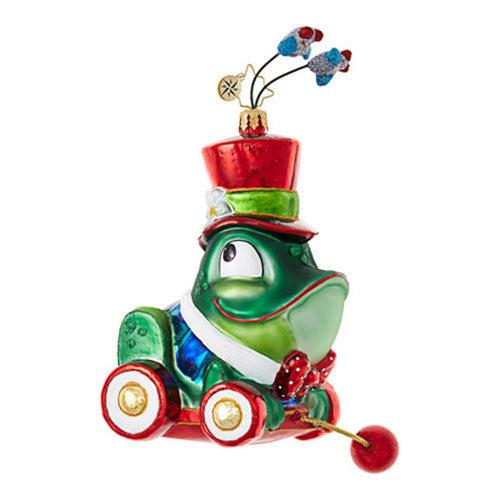 Radko CHRISTMAS CROAKER Frog Pull Toy Kids Ornament NEW