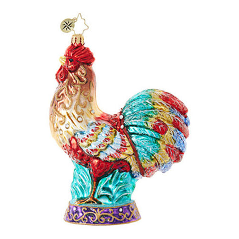 Radko CHRISTMAS ROOSTER Farm ornament NEW 2017