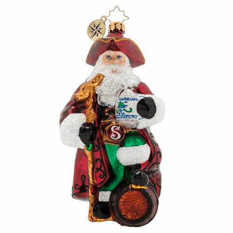 Christopher Radko A Keg For Kris Kringle Santa Pirate Ornament