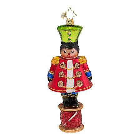 Radko Military Spool Toy Soldier Seamstress ornament NEW