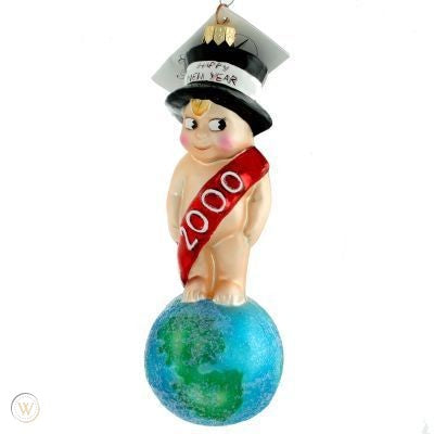 Christopher Radko Dated 2000 MILLENNIUM MUNCHKIN New Year baby ornament